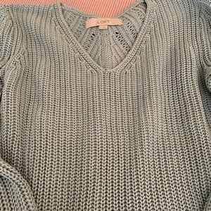 LOFT 100% Cotton Light Green Knit Sweater (S)